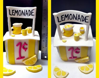 Edible fondant Baby's 1st birthday Lemonade Stand cake topper