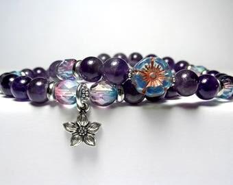 Amethyst Flower Bracelet, Czech Flower Bracelet, Nature Bracelet, Ladies Beaded Bracelet, Set of 2 Bracelets, Purple Bracelet