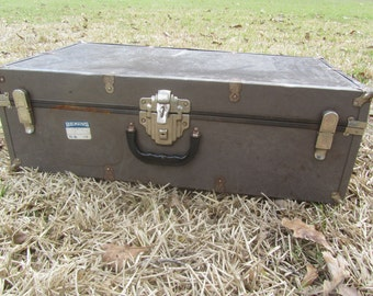 VINTAGE METAL SUITCASE, Metal Trunk, Mid Century Luggage, Travel Bag, Gray