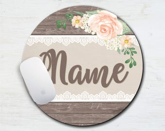 Country Lace Personalized Mouse Pad, Floral, Wood, Lace, Country Wedding, Gift, Office, Fabric Mouse Pad, Name Mouse Pad, Present, Sister