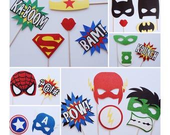 Super Hero Photo Booth Props ; SuperHero Photo Booth Props ; Superhero Birthday Party ; Super Hero Mask ; Super Heroes ; Marvel ; Batman