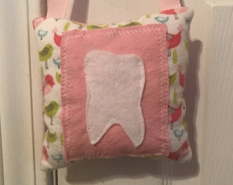 Tooth Fairy Pillow, Girls Tooth Fairy Pillow, birds tooth fairy pillow