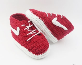 Red Crochet Baby shoes, baby crochet shoes, Infant Crochet Booties, Sneakers for Babies, Baby shower gift, choose size, BB101-C7