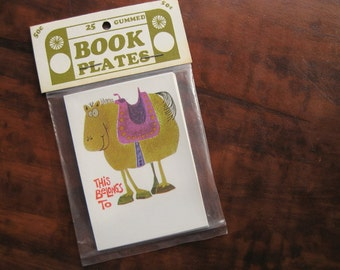 25 cartoon horse book plates. Horse ex libris. Festoon Inc. Gifts for readers. Book gifts. Horse art. Horse lovers. From the library