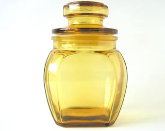 Amber Glass Apothecary Jar Container Vintage Home Decor