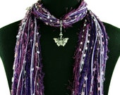 Butterfly Jewelry Scarf, Women's Gift Scarf, Butterfly Pendant, Crystal Butterfly, Many Color Choices