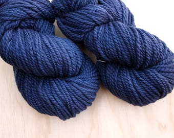 Handspun superfine merino yarn / rich royal blue semi-solid / chunky weight soft and textured handspun yarn