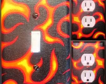 Flames light switch wall plate covers kid room, bathroom ,bedroom, man cave, doorm room decor