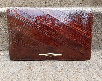 Vintage Seberini Snakeskin Leather Clutch Bag
