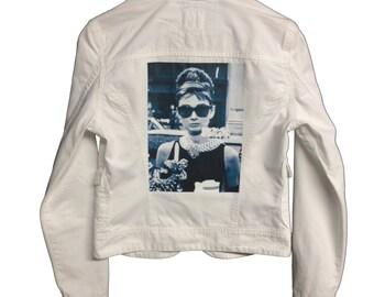 Vintage Breakfast at Tiffany Jacket. Vintage Lucky Brand White denim jacket. Holly Golightly. Audrey Hepburn. Breakfast at Tiffanys jacket.