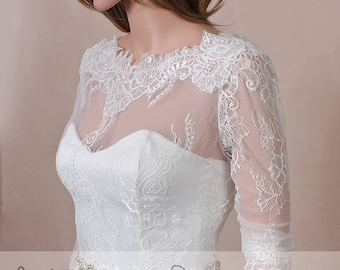 Wedding cover up/ lace bolero V back / wedding jacket/ shrug/bridal lace top