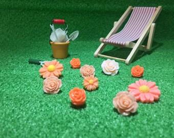 10pcs mixed flowers spring scrabooking card making garden flatback cabochons cabs secret garden cute lady bug orange peach cream
