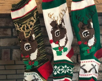 Hand Knit Deer Head Stockings
