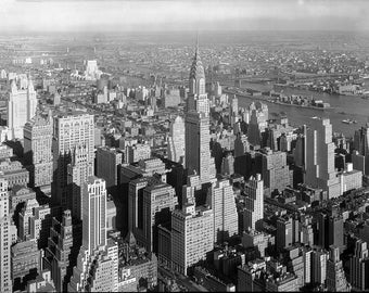 Chrysler Building, 1932, Skyscraper, New York City, Old Photo Reproduction