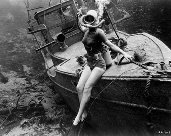Scuba Diver-  Helmet - Young Woman Diving- Vintage Photo