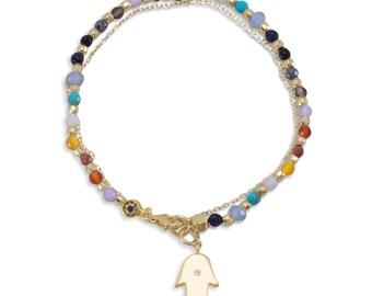 Double Strand 14 Karat Gold Plated Natural Multistone Bracelet with Hamsa Charm