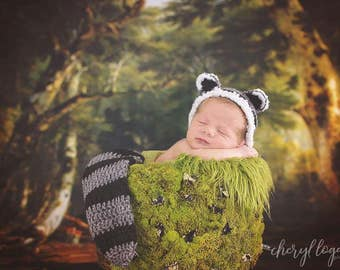 Newborn Raccoon bonnet set Photography prop