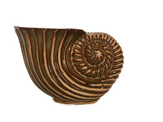 Vintage shell shaped planter nautical themed pottery textured clay decor