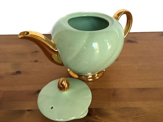 Ellgreave teapot Burslem England china green with gold trim repaired