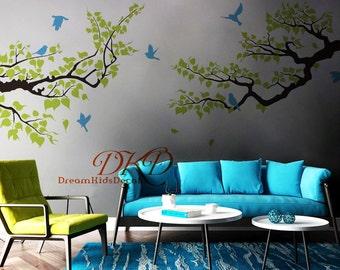 Wall decal, Tree branch Decal, Tree wall decal, Tree branch Nursery- Leafy White branch with Blue birds-DK278
