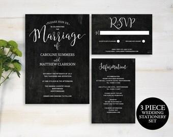 Wedding Invitation Template, Wedding Invitation Suite, Instant Download Invitation, Chalkboard Wedding Stationery Set, MM06-8