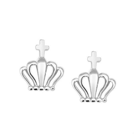 Crown earrings, crown silver 925 earrings, stud crown earrings, gift