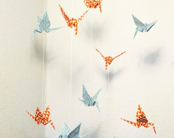 Mobile with Cranes made of japanese paper red/blue
