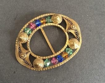Vintage Art Deco Gold Gilt Look Belt Buckle with Beads