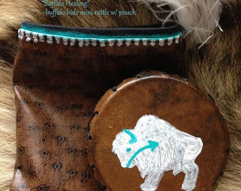 Buffalo Healing with Snake Medicine - natural hand painted rawhide mini rattle with it's own protective pouch