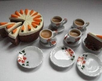 Barbie doll  food tea and carrot cake for four. Available in dolls house size also.