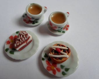 Dolls house food, 1.12th scale tea and cakes for two