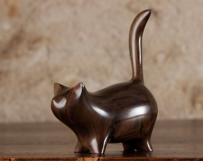Featured listing image: Small Martha Cat Sculpture Hand Carved From Sonokeling Rosewood Wood by Perry Lancaster, Imperfect With Some Natural Knots In The Wood