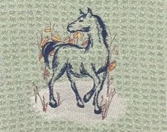 Brush Stroke Horse Microfiber Hand Towel - Green Mist