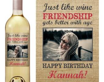 Birthday Gift - Birthday Wine Label - Personalized Wine Label - Custom Wine Label - Personalized Wine Label - Photo Wine Label