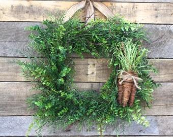 Easter Wreath, Square Boxwood Wreath, Rustic Wreath with Carrots, Spring Boxwood, Greenery Wreath, Farmhouse Wreath for Door, Foliage Wreath