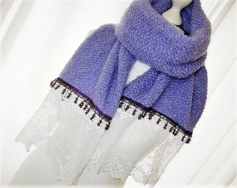 Soft scarf purple Mohairschal lilac scarf with lace and beads