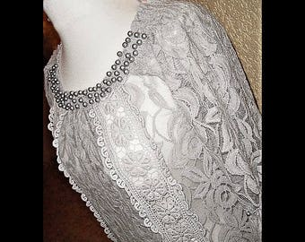 Tunic Vintagespitze approx. gr. 40 embroidered grey mini dress one size blouse beads
