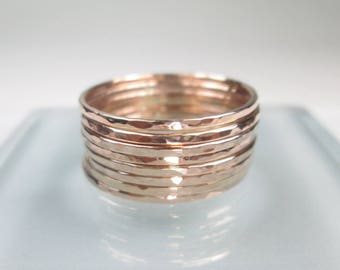Rose Gold Stacking Rings 1 to 10, Choice of 1mm or 1.3mm Wide, Multi-Ring Discount, Shiny Hammered Thin Rose Gold Filled Stacking Band Rings