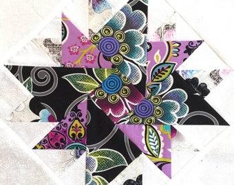 Beautiful 9 Purple Peonies Quilt Pre-cut Block Kits, L@@K!!