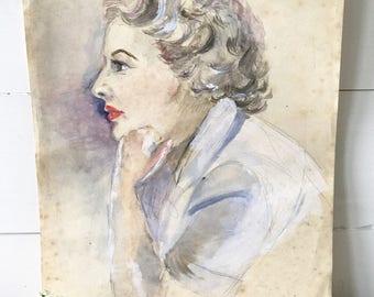 A beautiful vintage watercolour portrait by Alan Tabrum