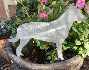 Smooth Collie, Yard Stake, Garden Decoration,  Tree Topper or Wall Hanging, Metal Dog Art, Aluminum, Pet Memorial, Handmade, Dog Lover Gift