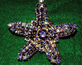 Vintage 1940's Gold Tone Starfish Brooch Amethyst color