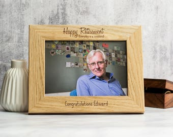 Retirement Photo Frame - Personalised Retirement Frame - Retirement Gifts - Oak Picture Frame - Photo Frame - Picture Frame - LC195