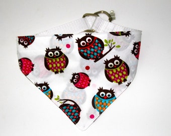 "Scarf ""Owls"" with stop band white dogs"