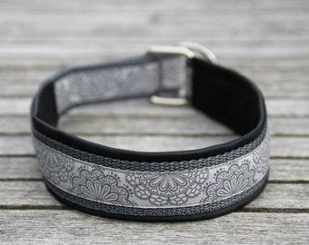 Dog collar 'Tips work', grey & Black, custom-made, dog collar, faux leather