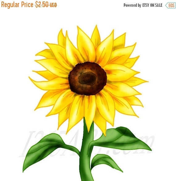 Clip Art Sunflower Clip Art sunflower clip art etsy 50 off sale beautiful clipart flower scrapbooking embellishments party invitations illustration