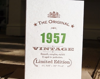 Vintage Celebrations: 60th Sixtieth Sixties 1957 birthday letterpress greetings card or invitation 1956 1955