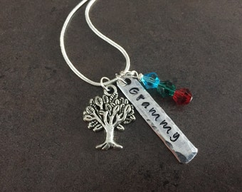 Grammy, Grandmother Necklace, Hand Stamped Jewelry, Personalized, Family Tree Charm Necklace, Gift for Mom, Mommy, Nana, Gigi, Memaw, Baba