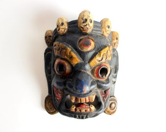 Antique Nepal Mahakala Wood Mask.