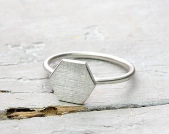 Silver ring Hexagon, hexagonal, honeycomb, polygon ring